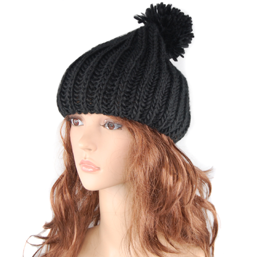 Retro Oversized Slouch Ladies Warm Stretch Beanie Bobble Hat Knitted Winter N...