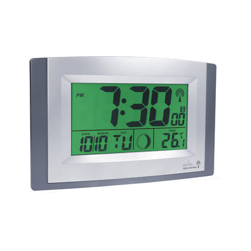acctim stratus large led digital radio controlled desk wall clock with alarm ebay. Black Bedroom Furniture Sets. Home Design Ideas